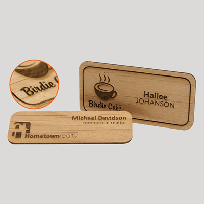 Engraved Wood Badges